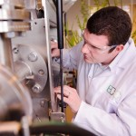 Dr Mark Gronnow, Process Development Unit Manager, adjusting the continuous flow, low temperature microwave pyrolysis equipment